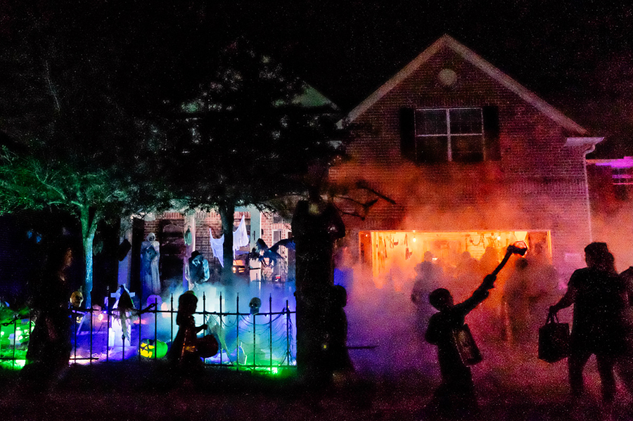 suburban halloween in texas
